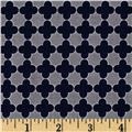 Riley Blake Mini Quatrefoil Gray/Navy