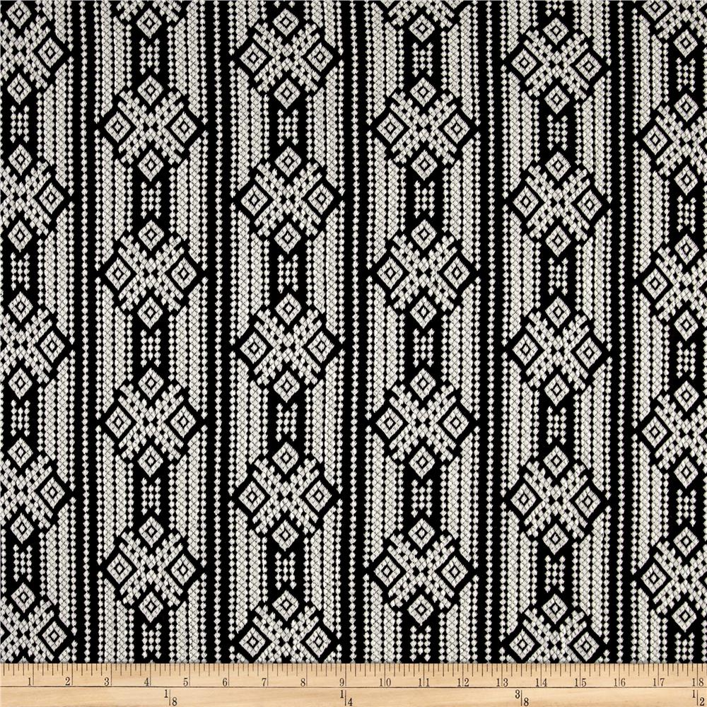 Jacquard Aztec Double Knit Black/White