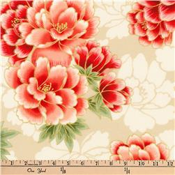 Kaufman Imperial Collection Metallic Flowers Red