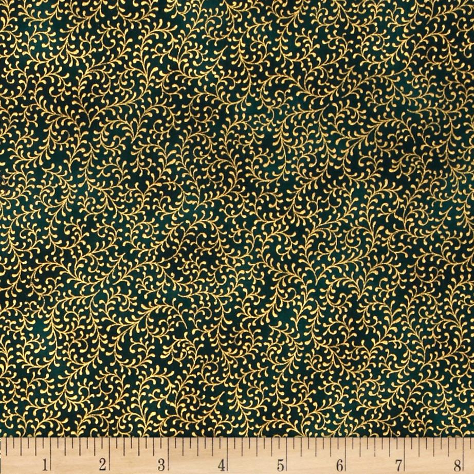 Royal Peacock Metallic Filigree Vine Green/Gold