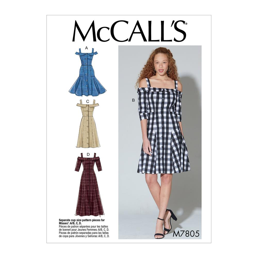 McCall\'s M7805 A/B, C and D Cup Sizes Misses\' Dresses A5 (Sizes 6-14 ...