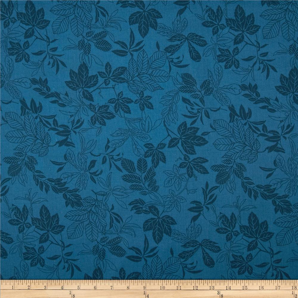 108'' Wide Quilt Back Modern Leaf Federal Blue Fabric