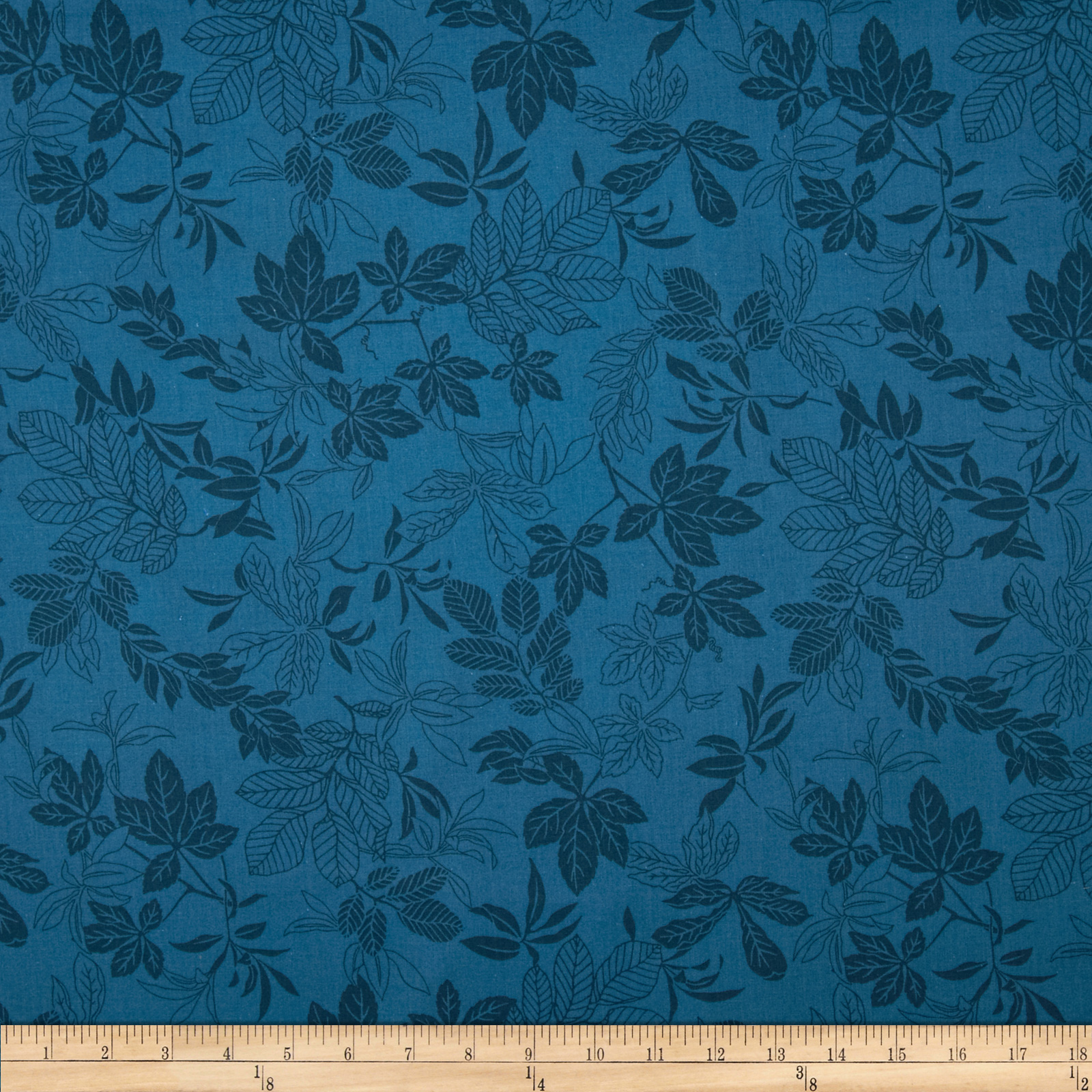 108'' Wide Quilt Back Modern Leaf Federal Blue Fabric by Studio E in USA