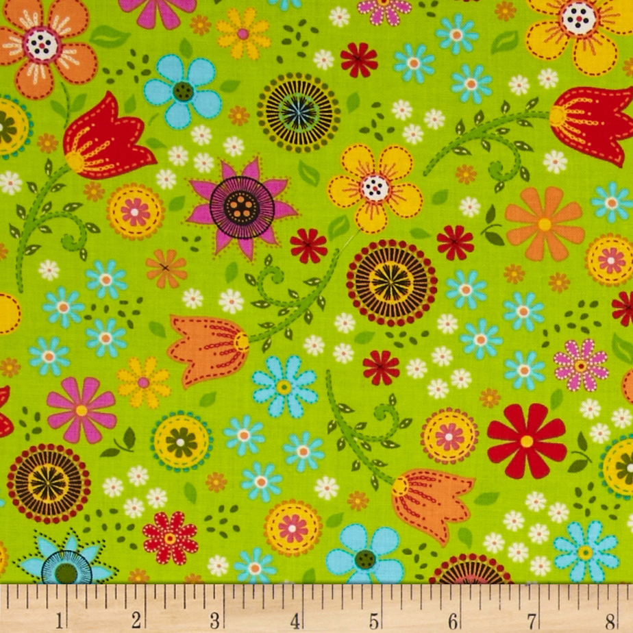 Timeless Treasures Folk Song Folk Floral Toss Lime
