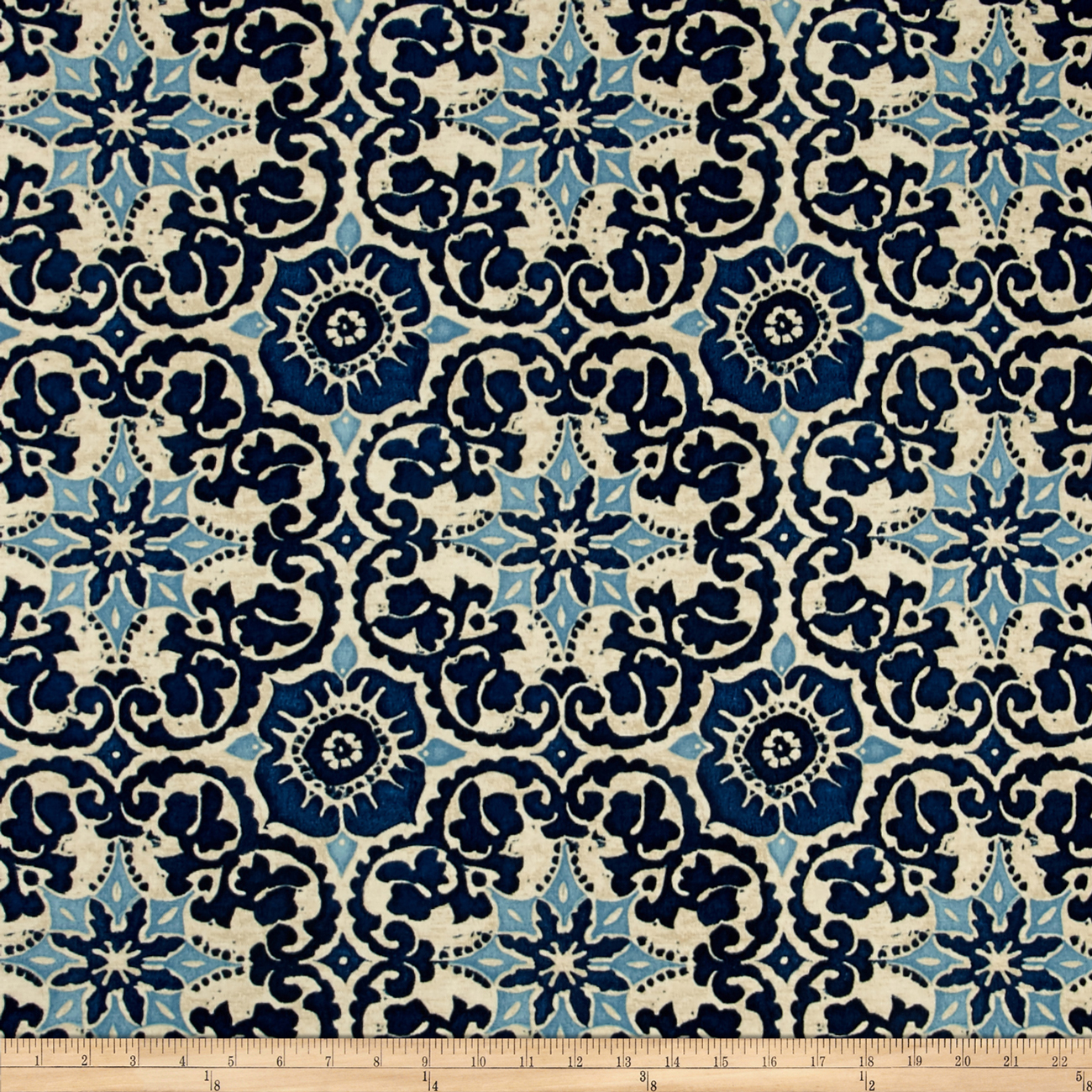 Bryant Indoor/Outdoor Woodblock Prism Blue Fabric by Bryant in USA