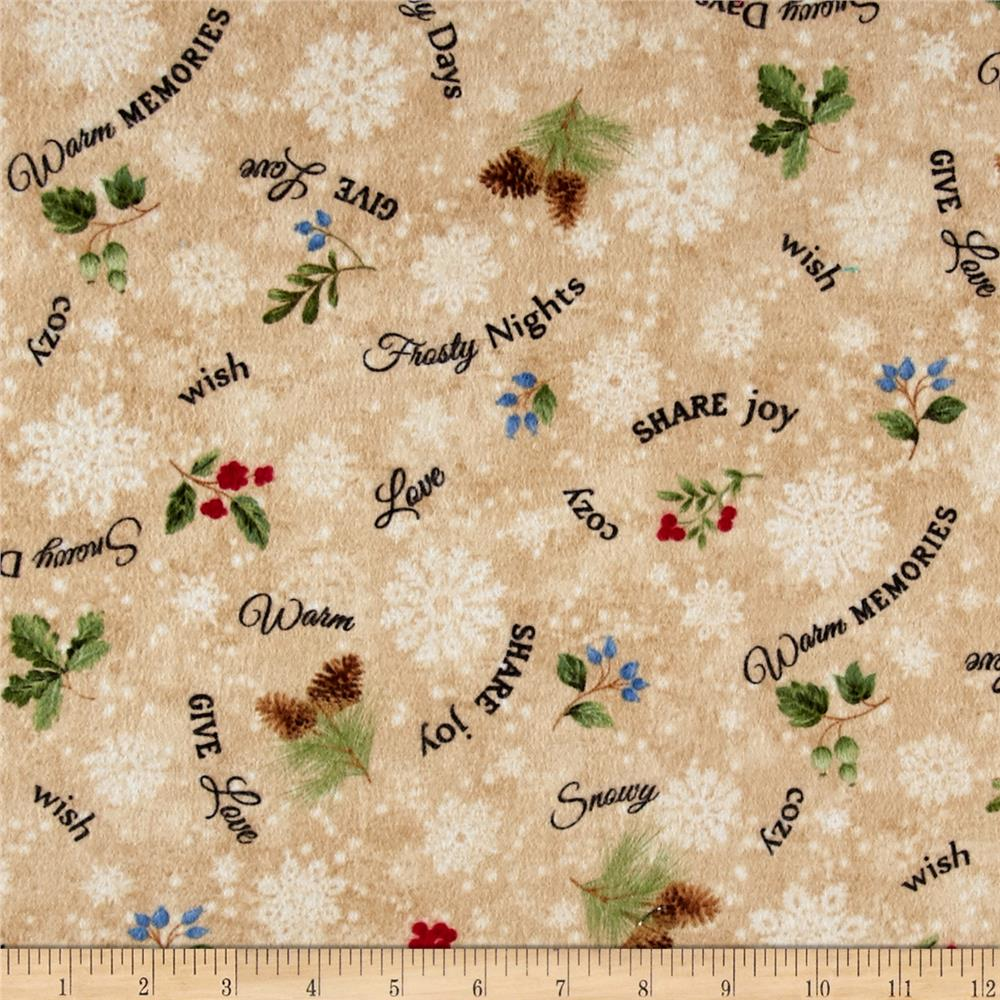 Timeless Treasures Winter Memories Flannel Word Toss Beige Fabric
