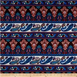 Rayon Challis Paisley Denim Blue/Brown/Pink