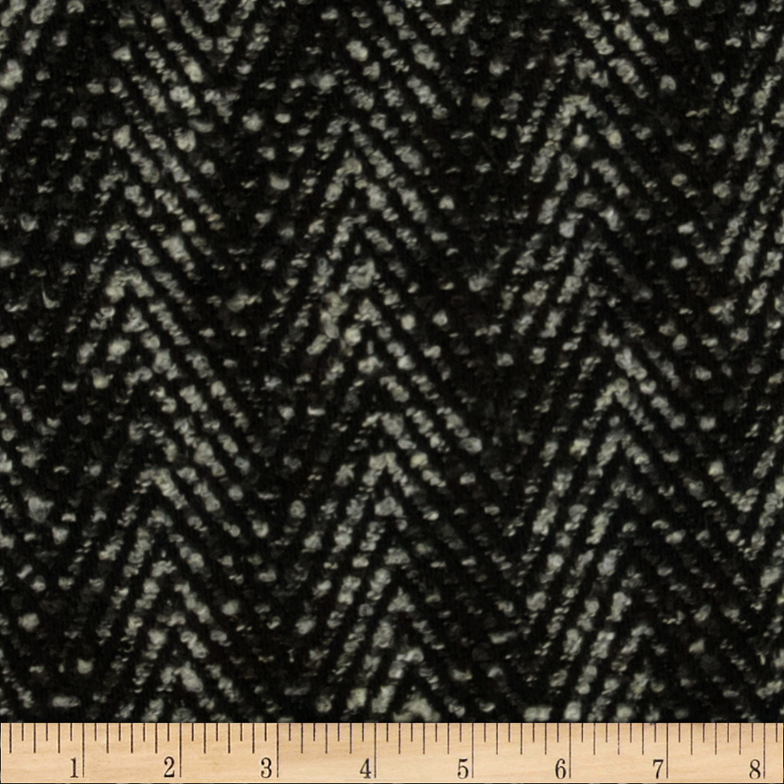 Boucle Coating Zig Zag Black/Grey Fabric