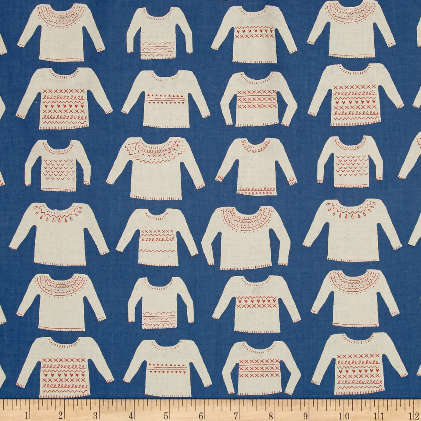 Image of Cotton + Steel Cozy My Favorite Sweater Blue Fabric