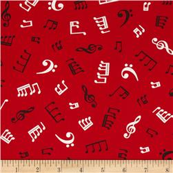 Kaufman In Tune Music Notes Red