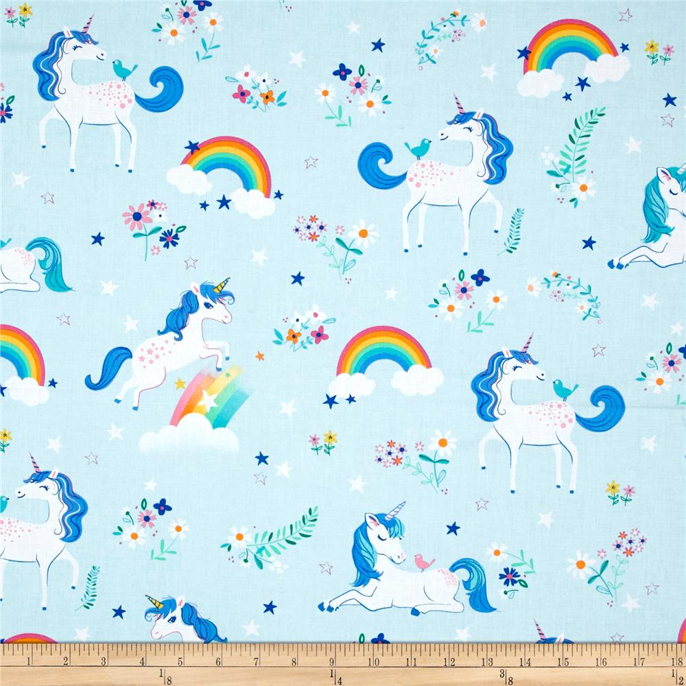 Kaufman Happy Little Unicorns Unicorns Rainbows Blue
