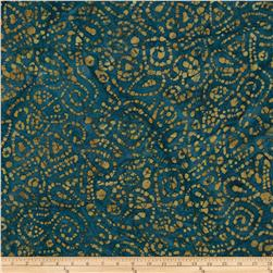 Indian Batiks Cedar Bluff Geo Teal/Yellow