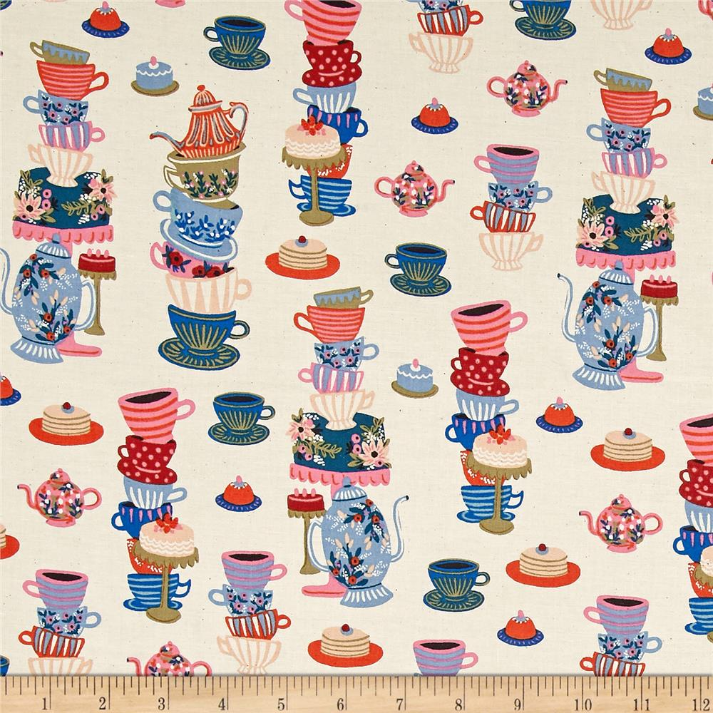 Cotton + Steel Rifle Paper Co. Wonderland Mad Tea Party Neutral