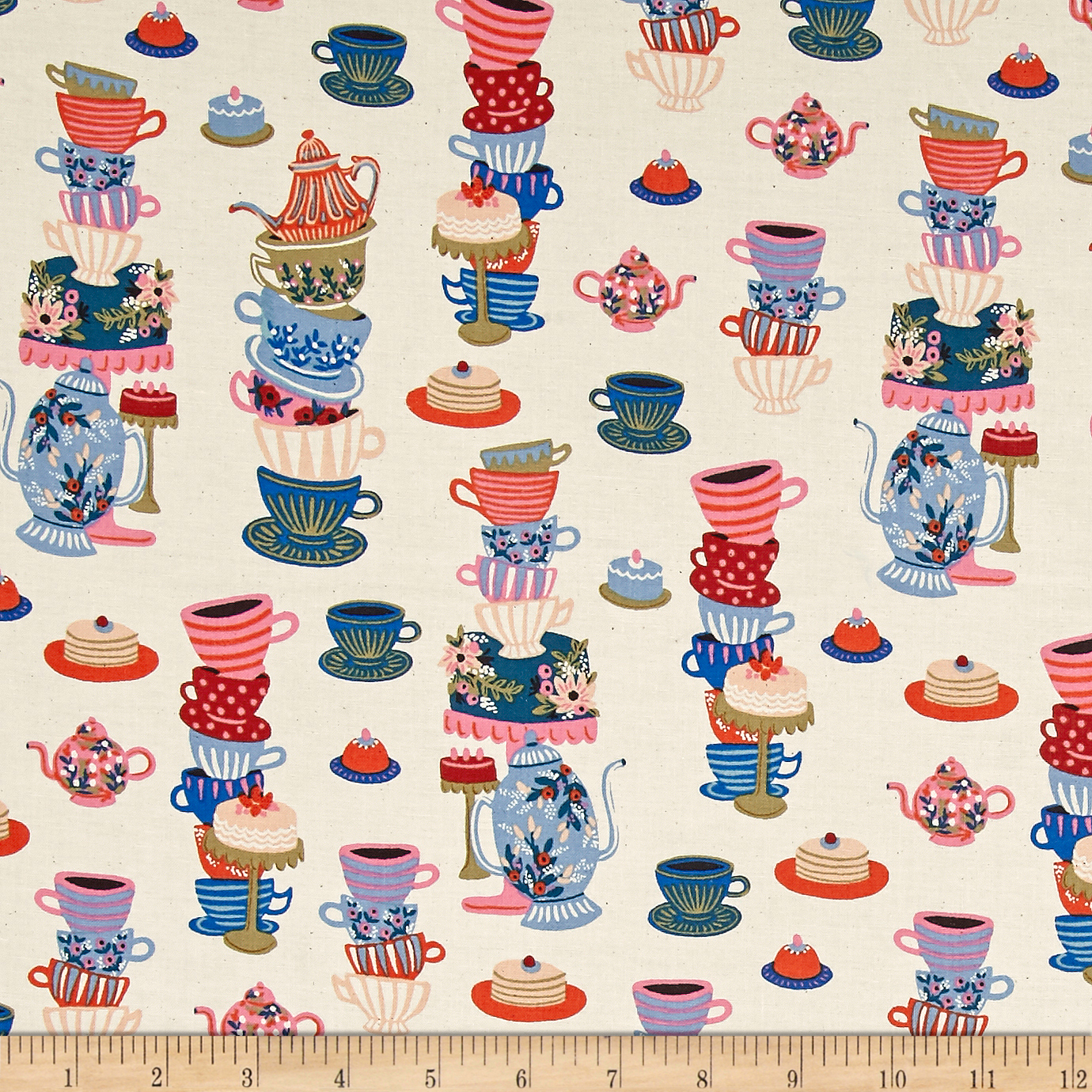 Cotton + Steel Rifle Paper Co. Wonderland Mad Tea Party Neutral Fabric by Cotton & Steel in USA