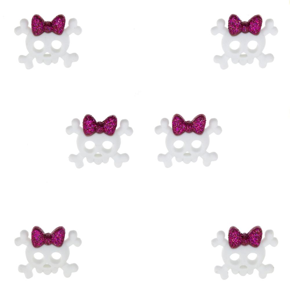 Dress It Up Embellishment Buttons Skull With Bows