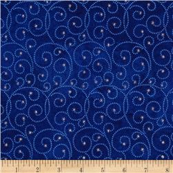 Reindeer Prance Metallic Swirls Blue