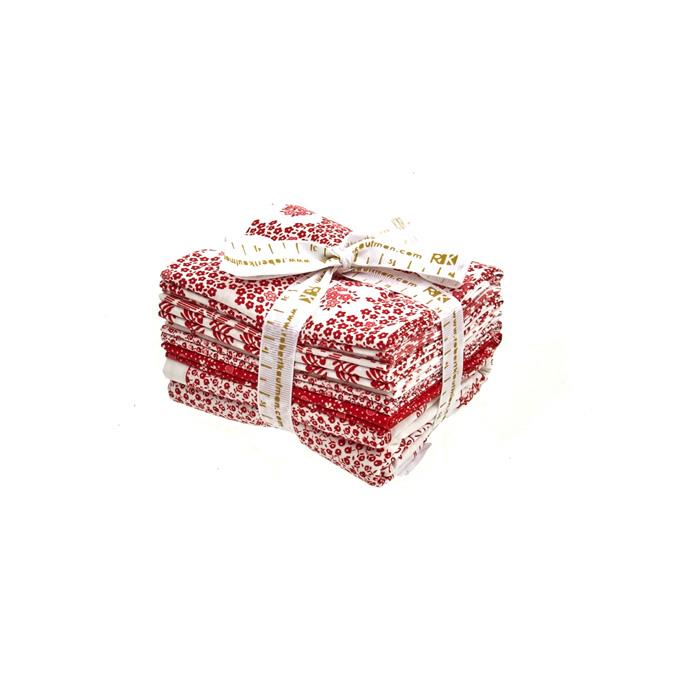 Robert Kaufman Pretty Posies Redwork Fat Quarter Bundle Multi