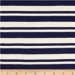 Designer Pique Stripe Jersey Knit Navy/Ivory Fabric
