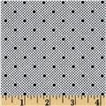 Telio Morocco Blues Stretch Cotton Shirting Dot Print White/Black