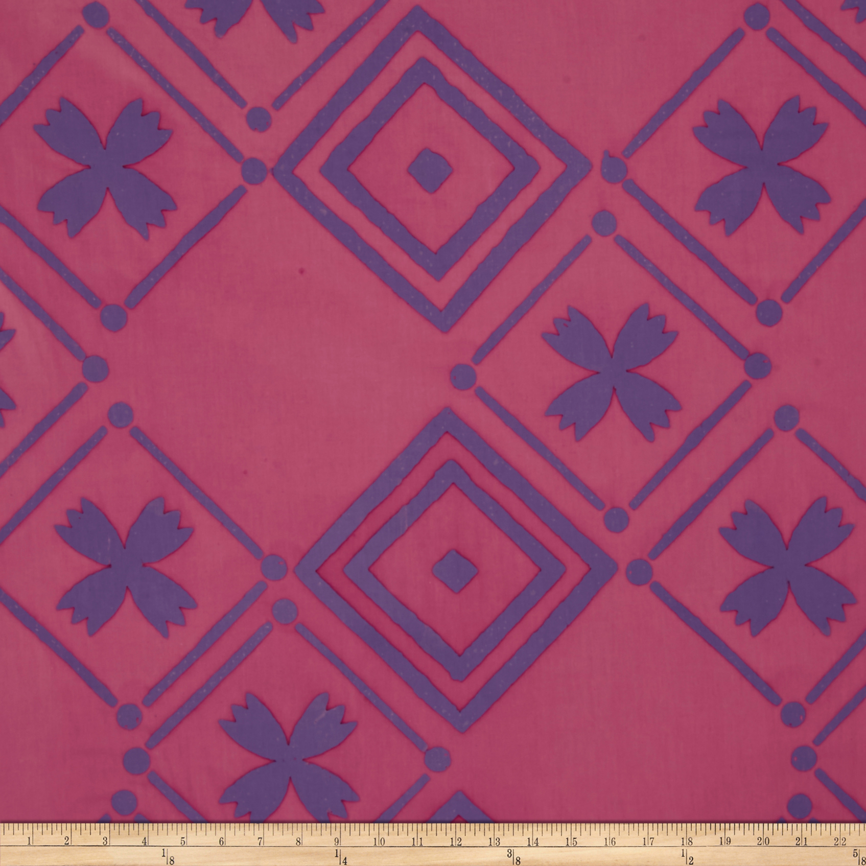 Image of Alison Glass Handcrafted Patchwork Batik Tile Foxglove Pink Fabric