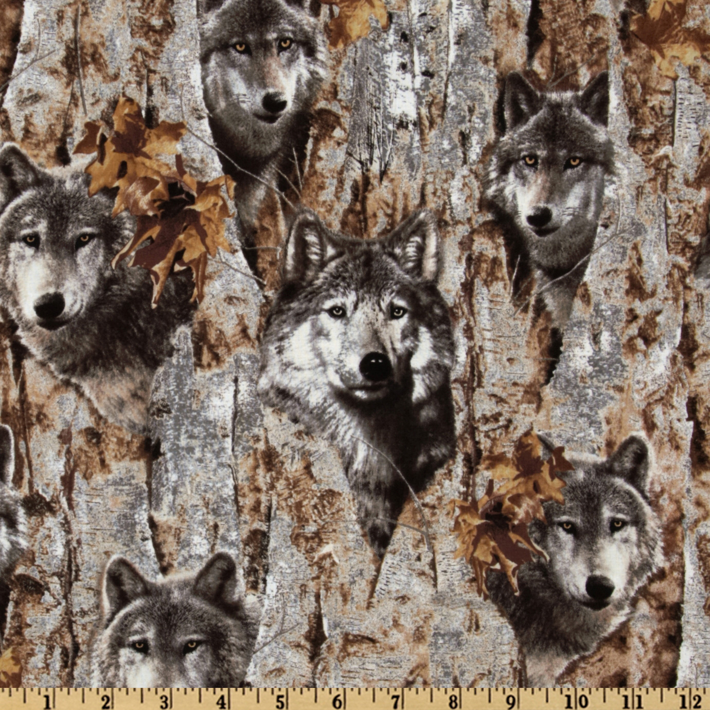 Wolves Grey/Tan Fabric