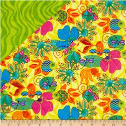 Calypso Frogs Double Sided Quilted Yellow Fabric