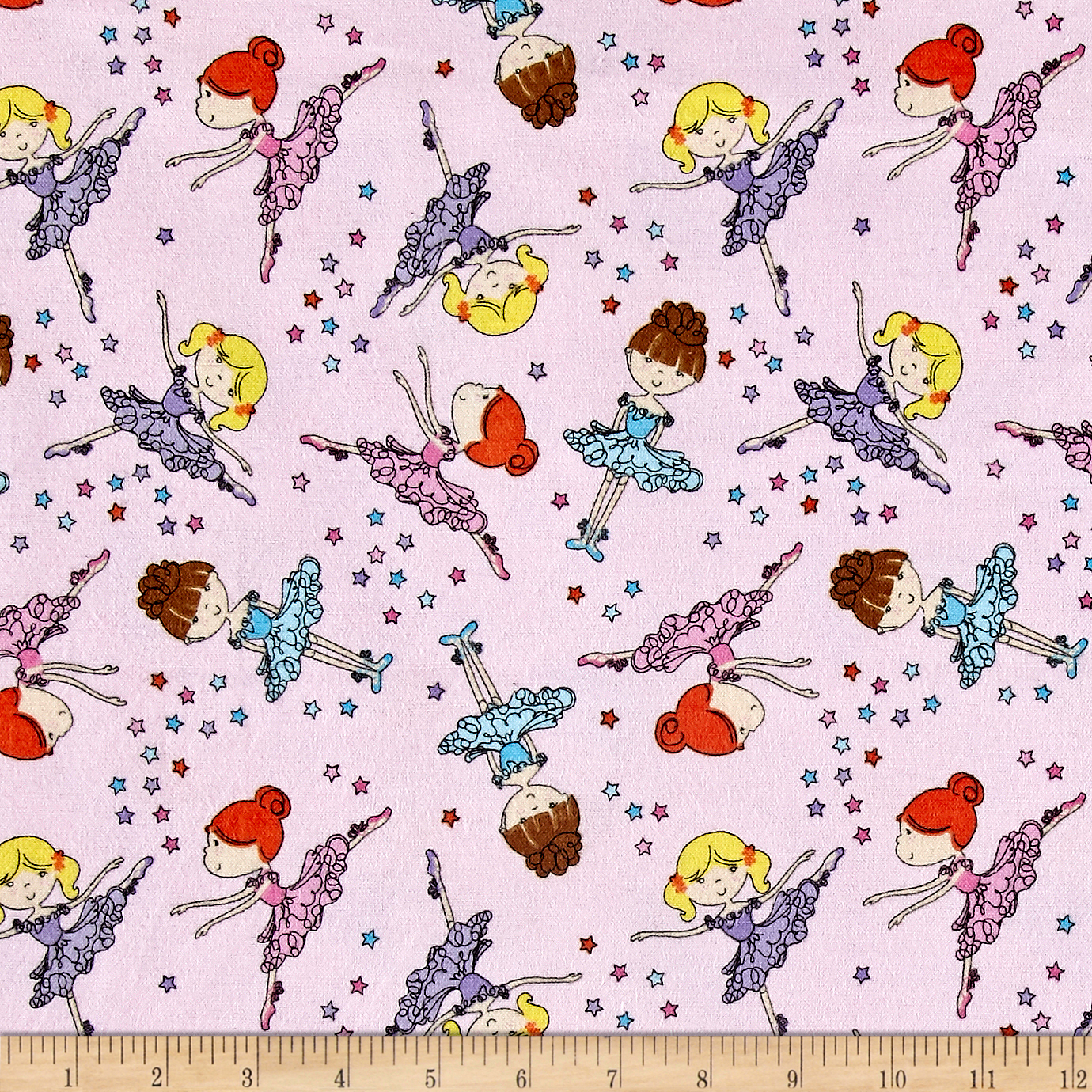 Comfy Flannel Ballerina's Pink Fabric by A. E. Nathan in USA