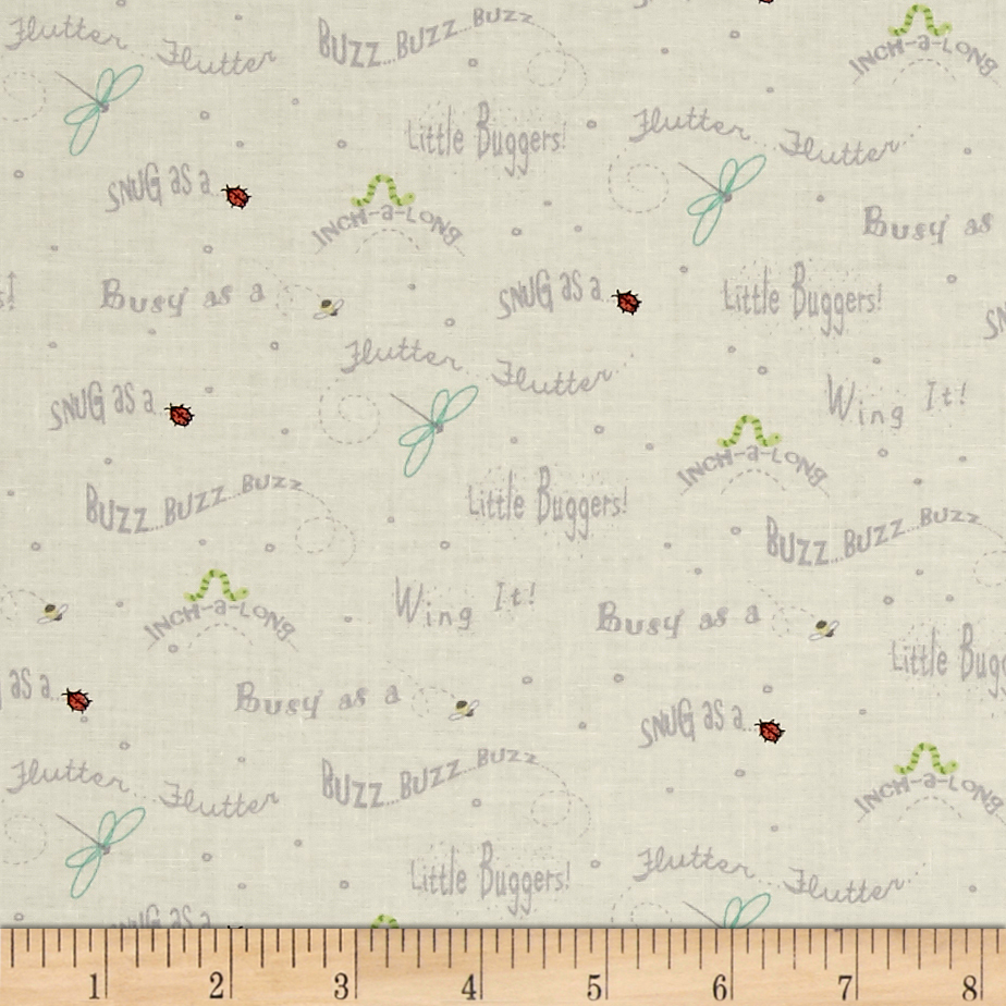 Ink & Arrow Little Buggers Words Buttecream Fabric by Quilting Treasures in USA