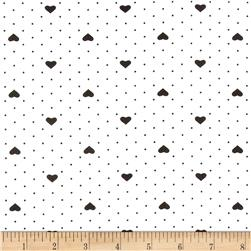 Avalana Jersey Knit Heart Dots Black/White