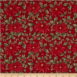 Moda Under the Mistletoe Poinsettia & Mistletoe Crimson