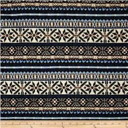 Techno Scuba Knit Fair Isle Blue/Black/Brown