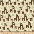 Riley Blake Giraffe Crossing Flannel Giraffe Cream