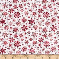 Seasons Greetings Snowflake Red