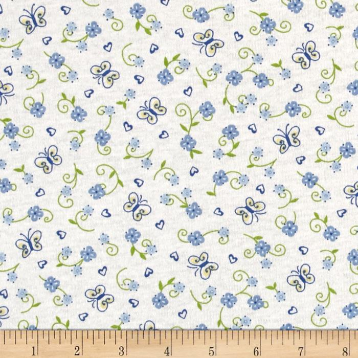 Children cotton knit flowers blue white discount for Wholesale childrens fabric