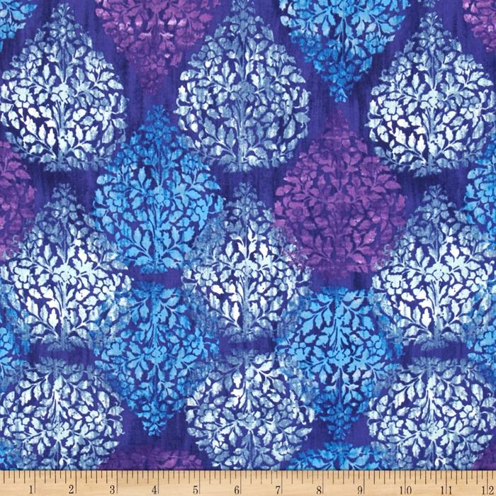 Kaufman Garden Allure Leaf Plaid Cobalt