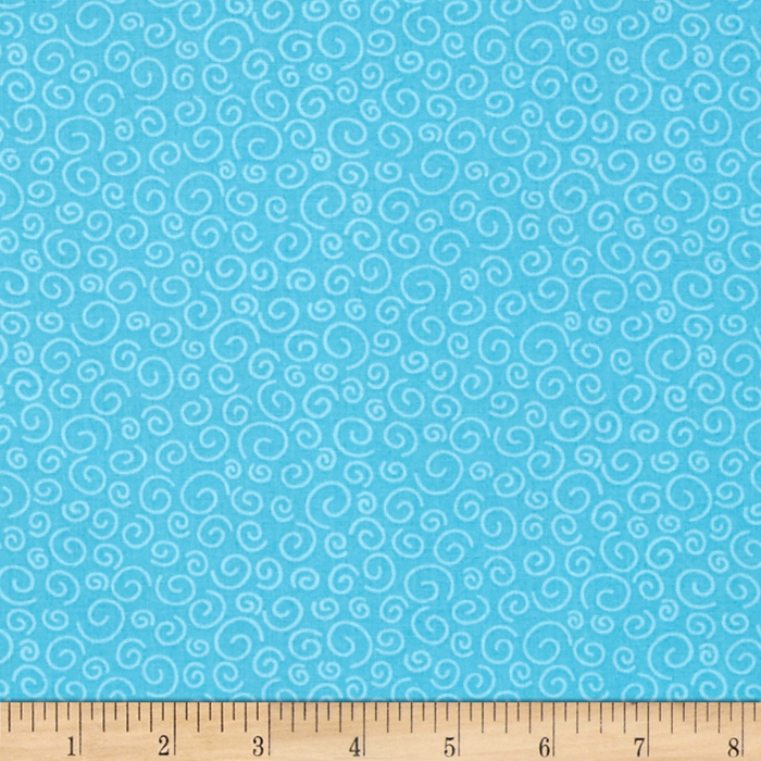 Polka Dot Pond Squiggles Turquoise Fabric by Marcus in USA