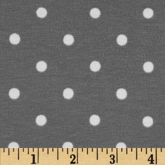 Stretch Cotton Jersey Knit Dots Grey/White