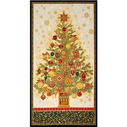 Kaufman Winters Grandeur Metallic 24 In. Tree Panel