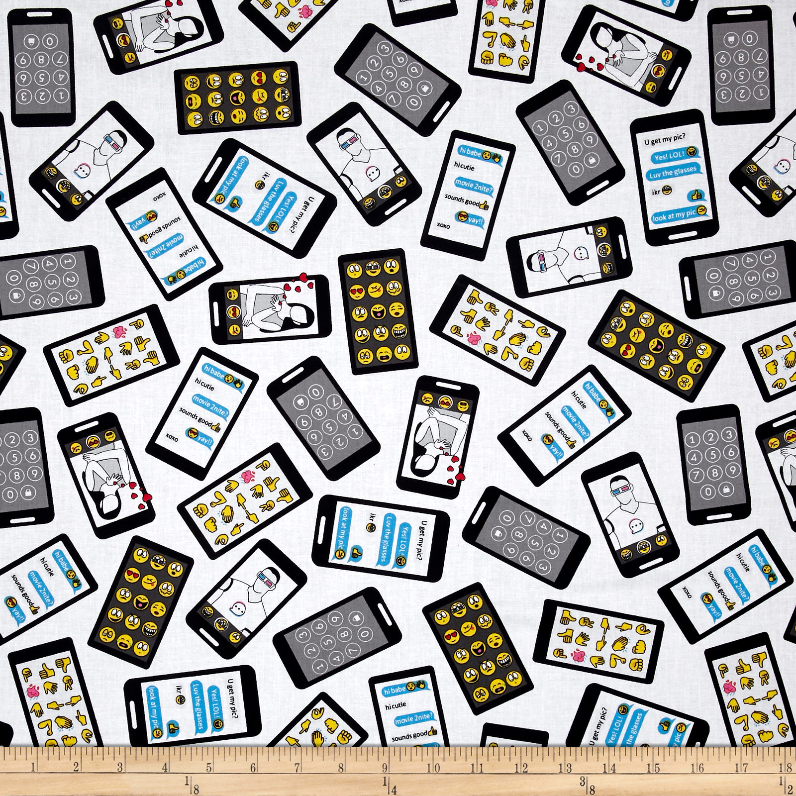 Designed by MY KT for Windham Fabrics this cotton print features a layout of iphones and tablets with emojis text messages male and female figures and the number pad which is perfect for quilting apparel and home decor accents. Colors include black white grey yellow red pink and blue.