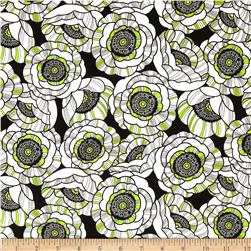 Kanvas Tempo Poppy Field Lime Fabric