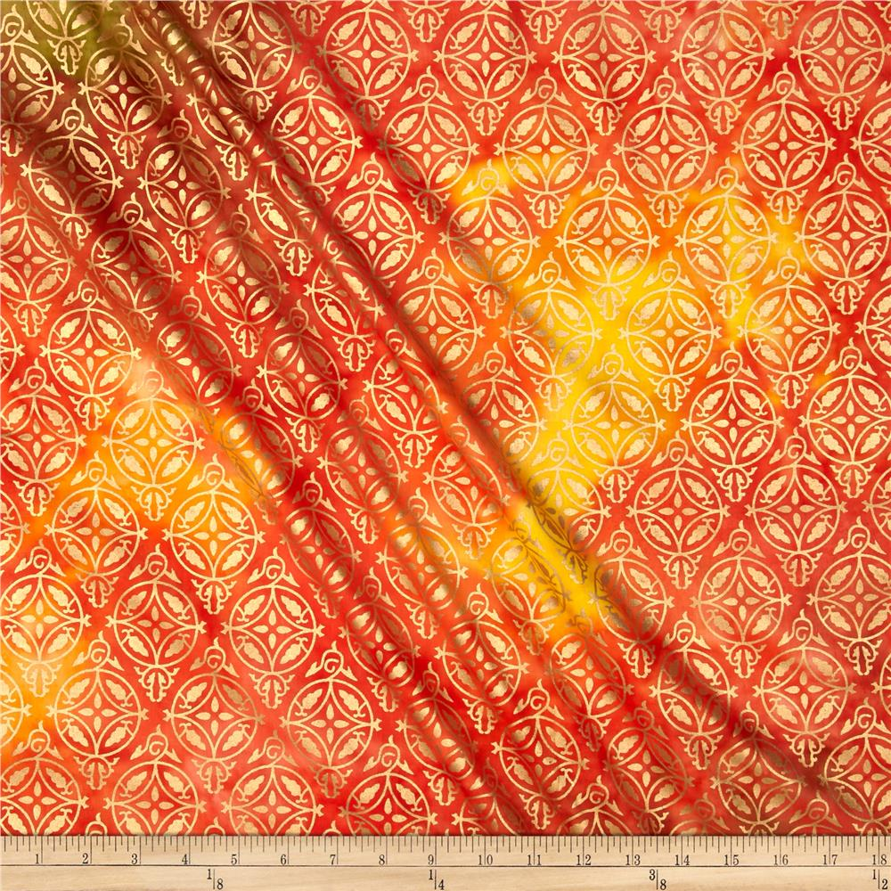 Indian Batik Montego Bay Medallion Metallic Orange