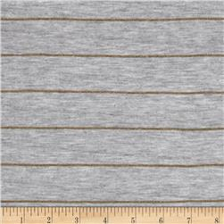Designer Yarn Dyed Jersey Knit Gold Glitter/Grey Fabric