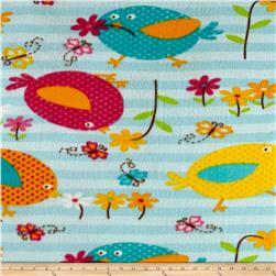Fleece Print Butterflies and Flowers Blue