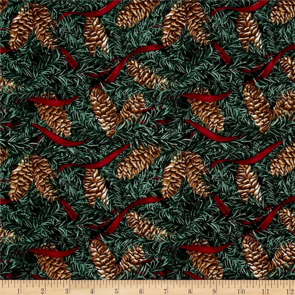 Home For The Holidays Pinecones With Ribbon Green Fabric