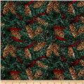 Home For The Holidays Pinecones With Ribbon Green