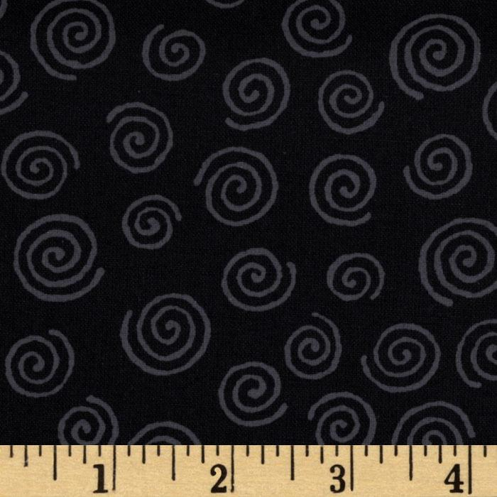 110' Wide Quilt Backing Swirl Black/Grey
