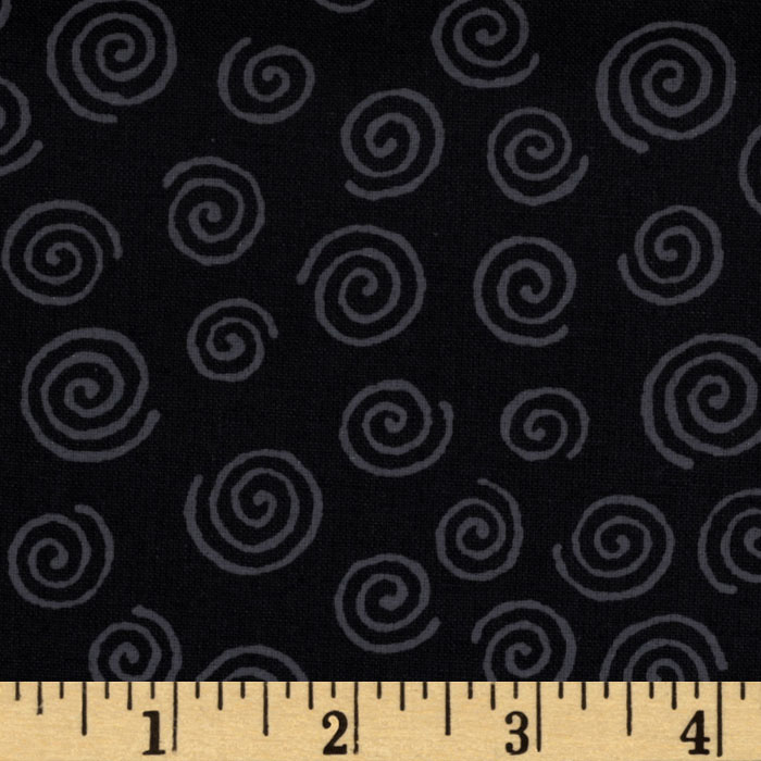 110' Wide Quilt Backing Swirl Black/Grey Fabric