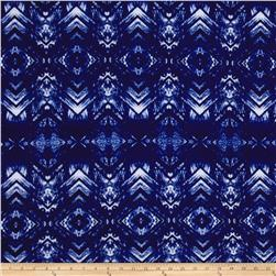 Stretch ITY Jersey Knit Chevron Diamond Royal
