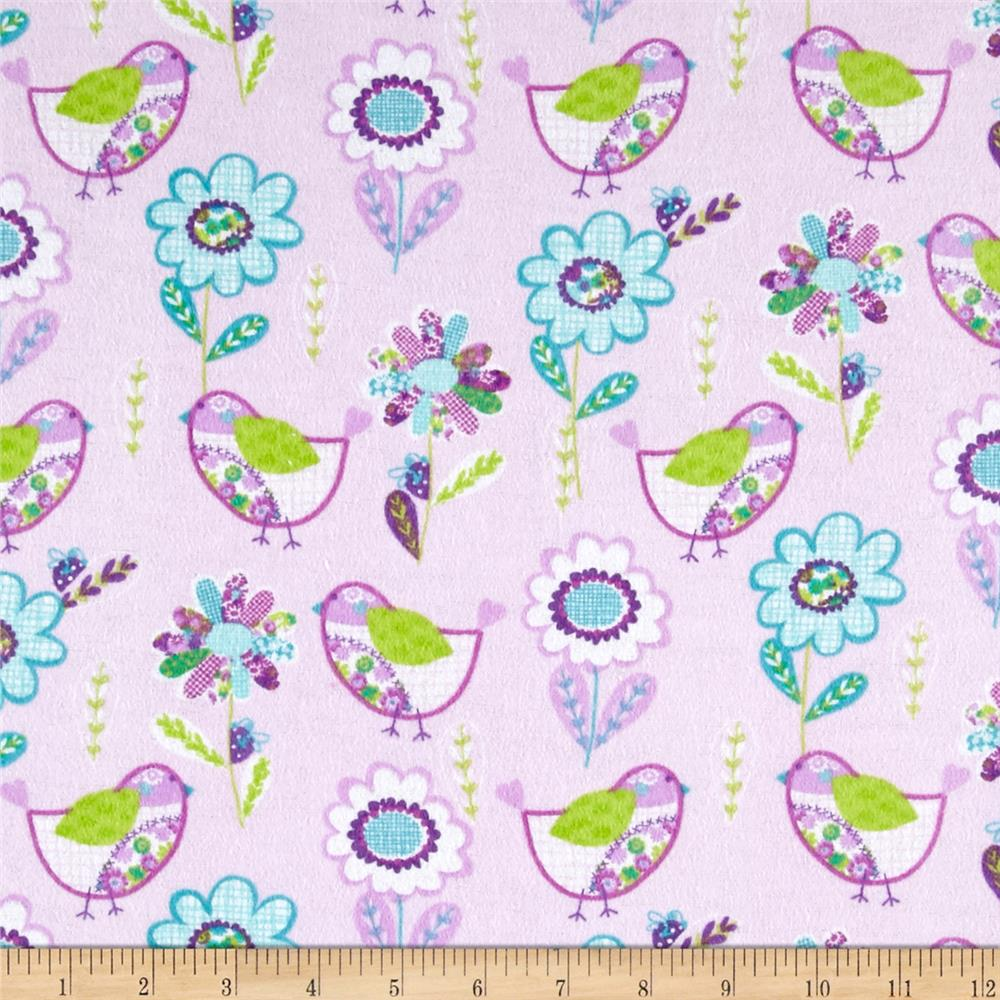 Comfy Flannel Birds & Flowers Pink