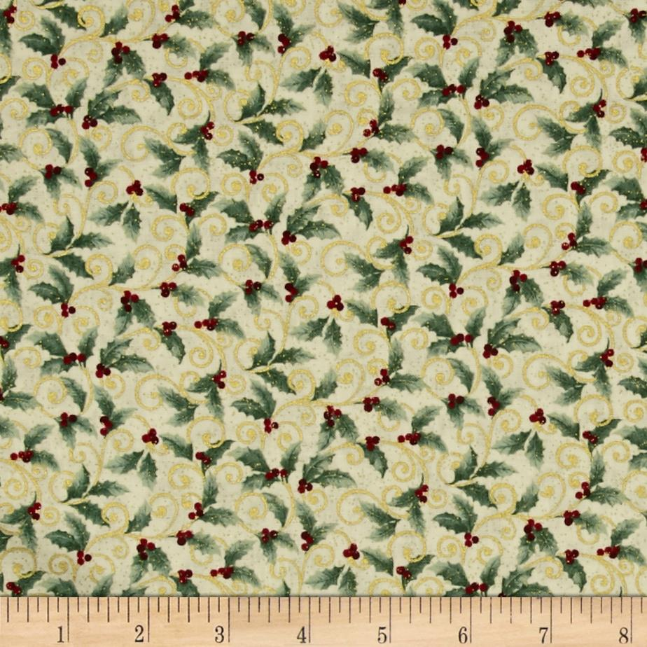 Chickadees and Berries Metallic Holly Scroll Cream/Multi